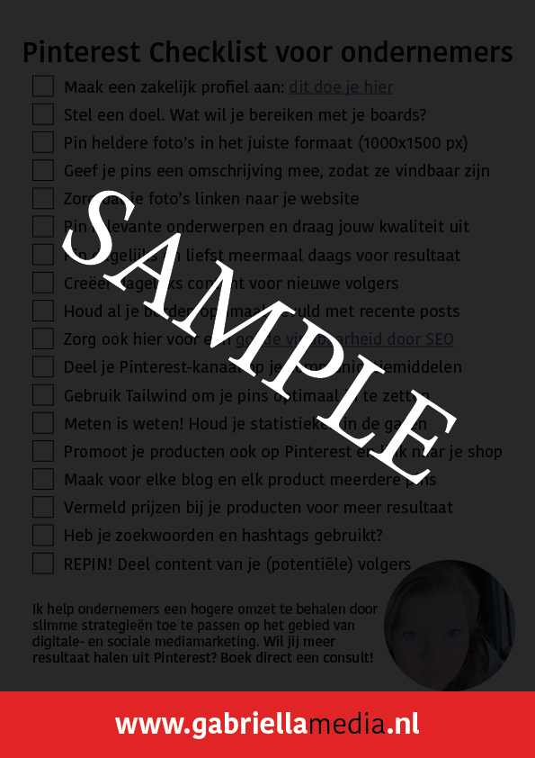 Checklist Pinterest SAMPLE