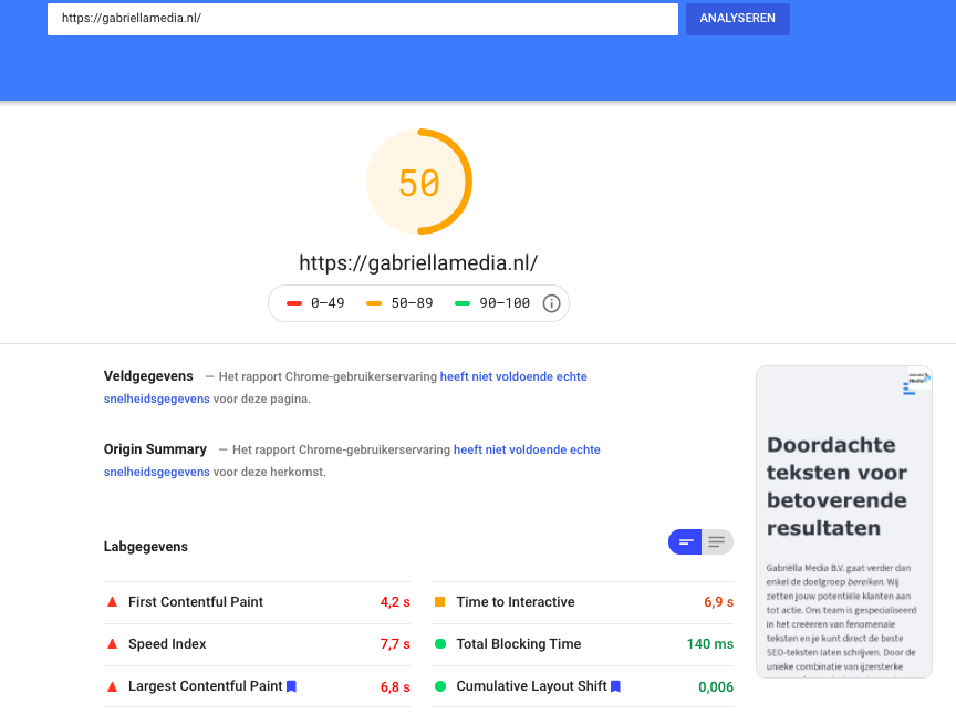PageSpeed Mobiel