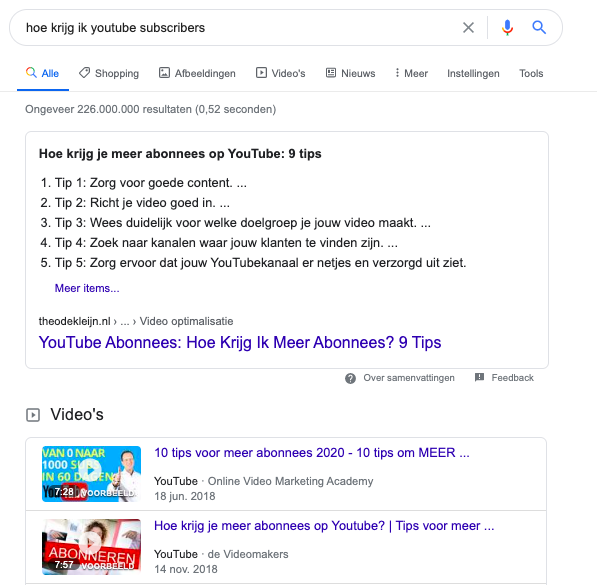 Search intent op Google