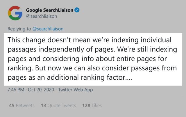 Twitter Google SearchLiaison - passage ranking