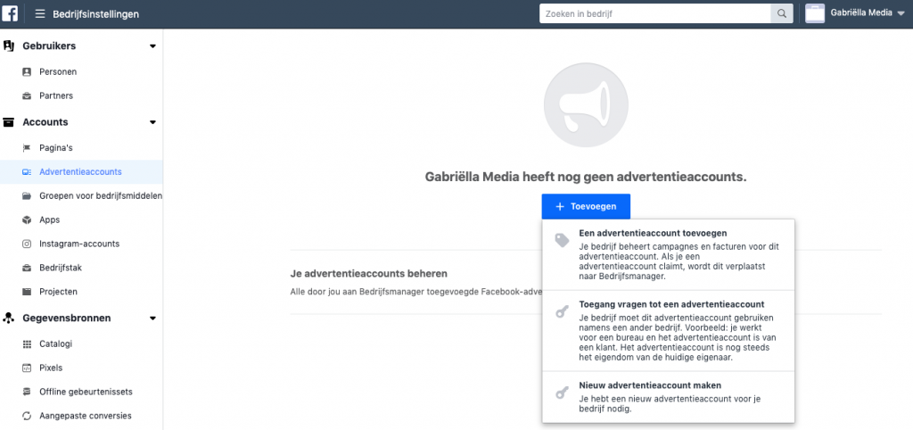 Advertentieaccount instellen op Facebook Business Manager