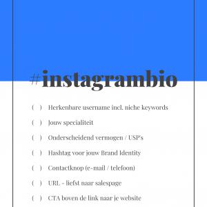 Instagram bio checklist - geld verdienen met Instagram