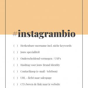 Instagram checklist perfecte bio - Instagram bio checklist