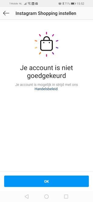 Instagram-Shopping-Account-niet-goedgekeurd